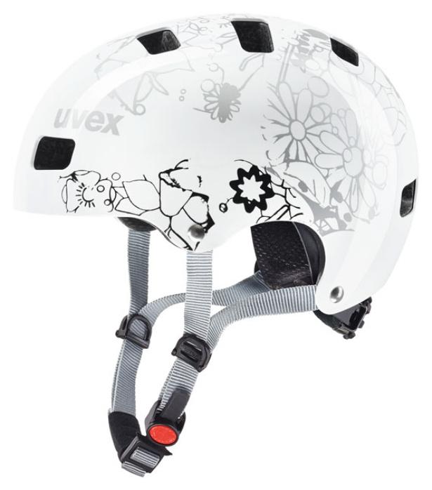 uvex kinder bmx skate fahrradhelm kid 3 white flower 51 55. Black Bedroom Furniture Sets. Home Design Ideas